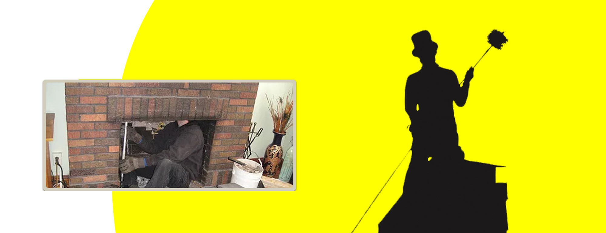 header with logo and chimney cleaning picture