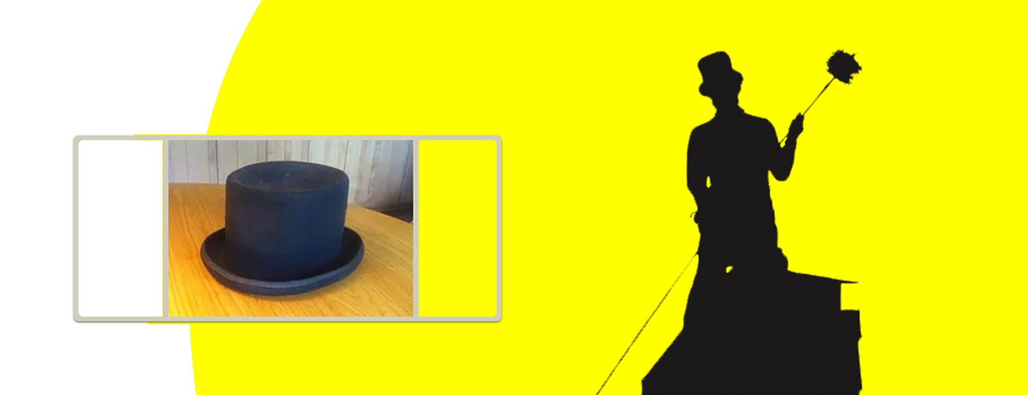 header with logo and top hat picture